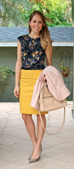 Floral top, yellow pencil skirt, python shoes