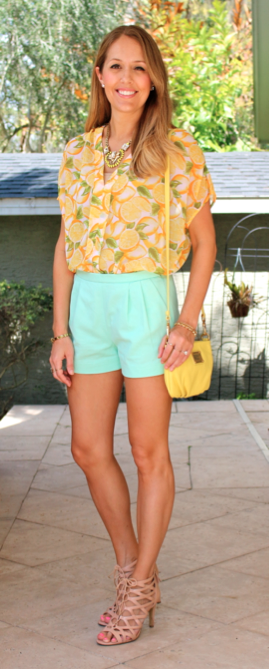 Lemon print top, mint shorts, yellow Marc Jacobs
