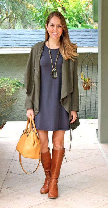 Green jacket, gray dress, knee high cognac boots