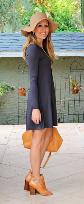 Gray Express dress, camel hat and booties