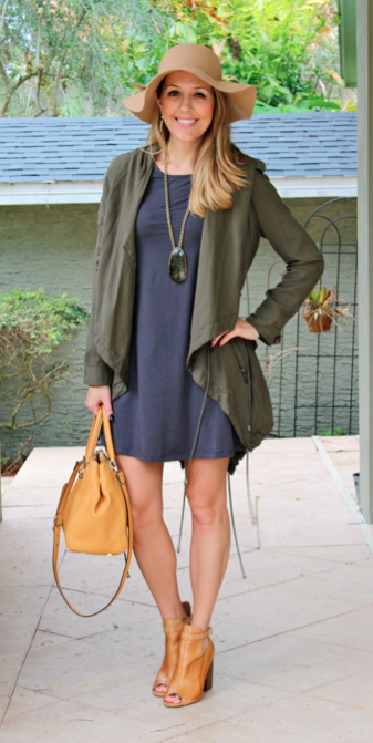 Green jacket, gray dress, brown boots