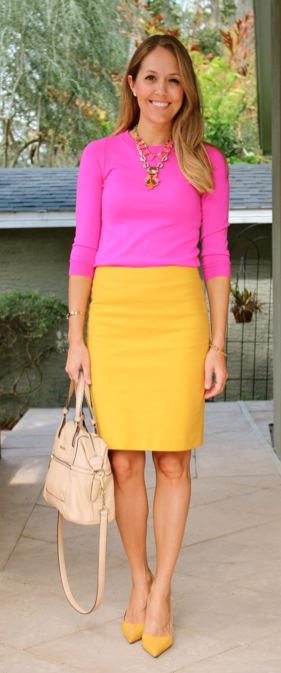 Pink sweater, yellow skirt