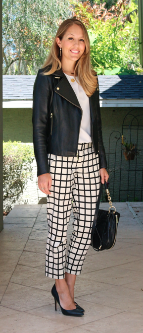 Leather jacket, grid print pants