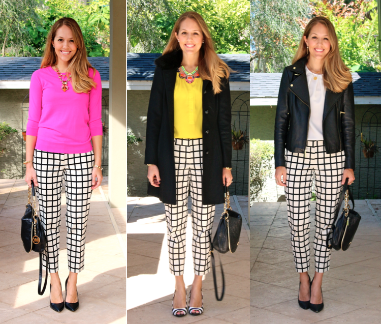 Grid print pants, 3 ways