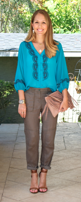 Turquoise embroidered top with olive linen pants