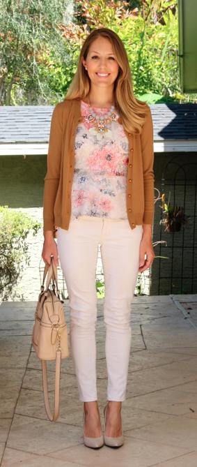 Camel cardigan, sequin peplum top, ivory jeans