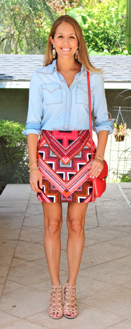 Chambray top, tribal red skirt, lace up nude shoes