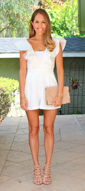 White ruffle ASOS romper - J's Everyday Fashion