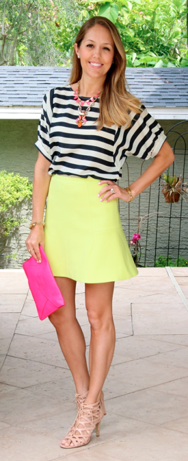 Black and white stripes, citron and pink