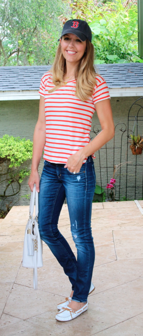 Red striped tee, Boston hat, white boat shoes