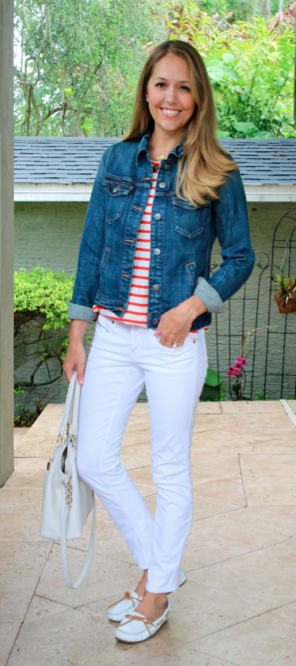 Denim jacket, red stripes, white jeans