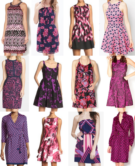 Purple print dresses on a budget