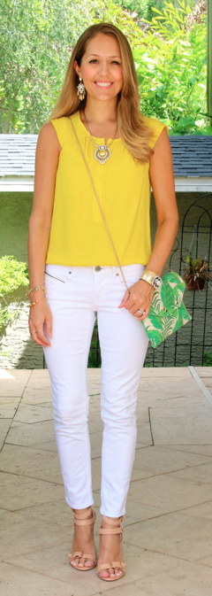 Yellow top, white jeans, palm print clutch