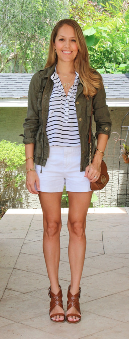 Army jacket, striped top, white shorts