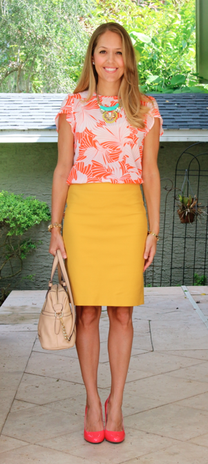 Printed top, yellow pencil skirt