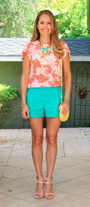 Printed top, turquoise shorts