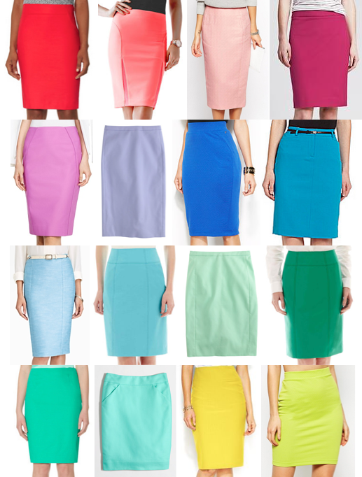 Colorful pencil skirts on a budget