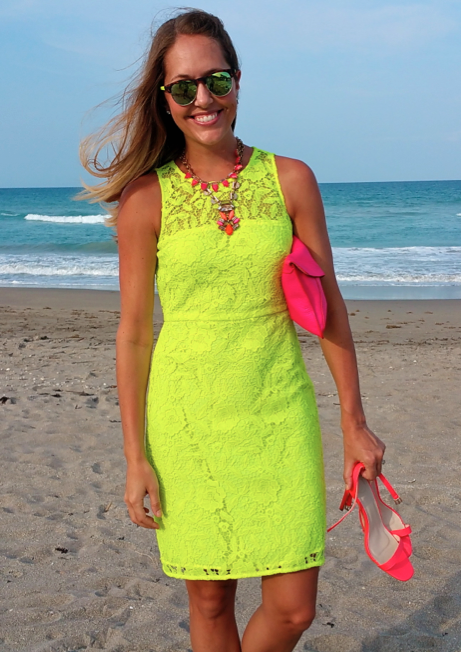 Neon dress for a beach wedding