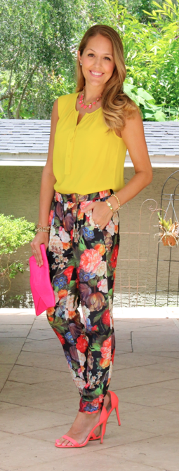 Yellow top, printed pants, neon sandals