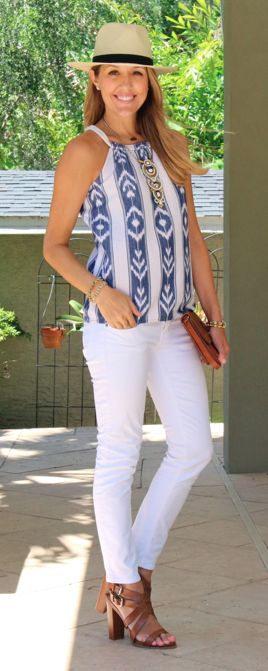 J.Crew Factory halter, Panama hat, white jeans, cognac shoes