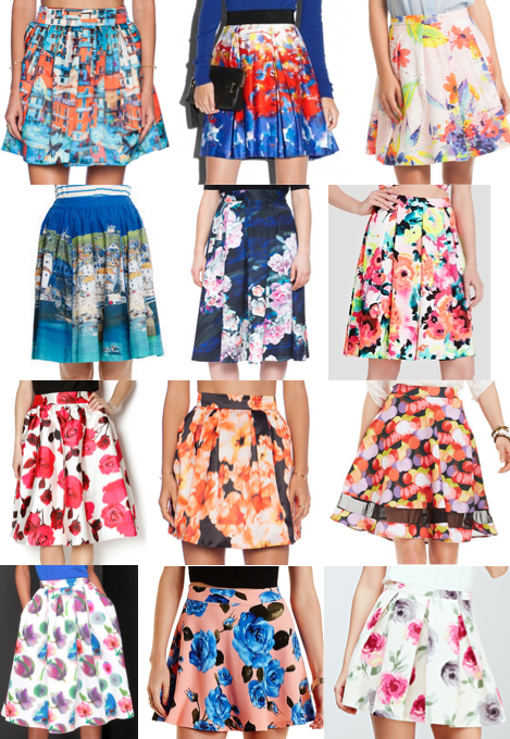 Printed floral skirts