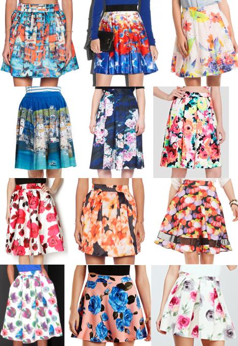 Printed floral skirts
