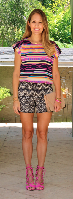 Print mixing top and shorts, pink lace up sandals