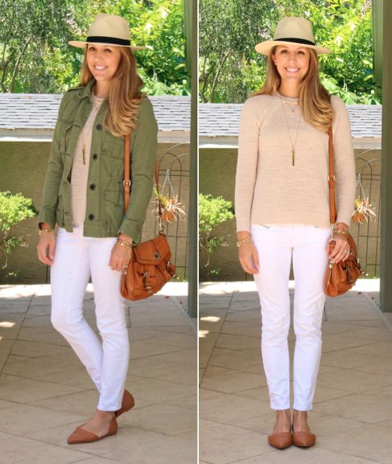 Army jacket, waffle sweater, white jeans, Panama hat