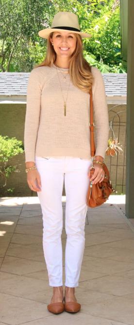 Waffle sweater, white jeans, Panama hat