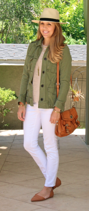 Army jacket, waffle sweater, white jeans