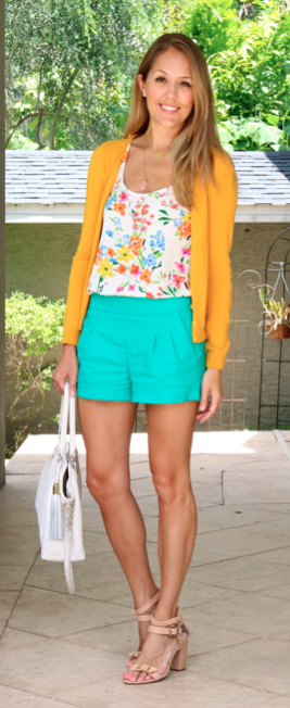 Mustard cardigan, floral  top, turquoise shorts