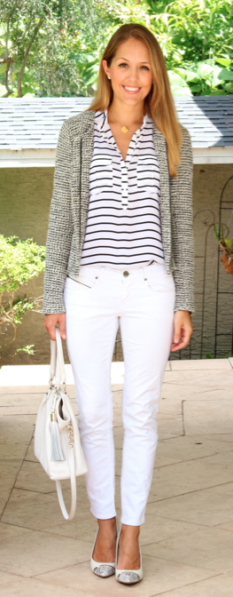 Gray jacket, striped top, white jeans