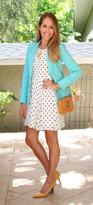Turquoise blazer, polka dot dress, yellow shoes