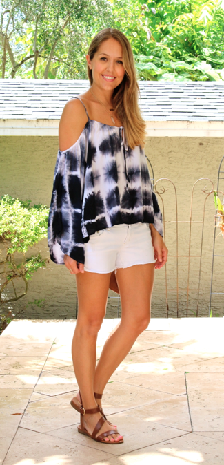 Tie dye off shoulder top with white shorts