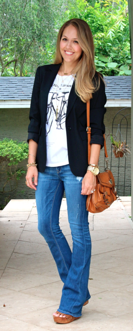 Boyfriend blazer, graphic tee and flares