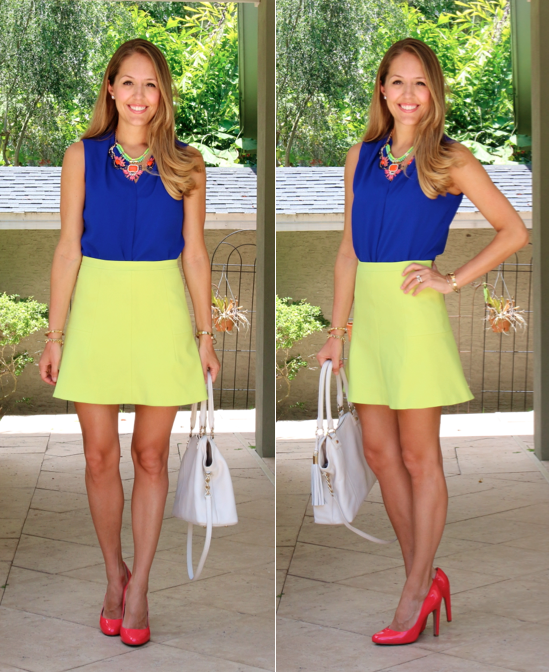 Cobalt top, citrus skirt, pink heels
