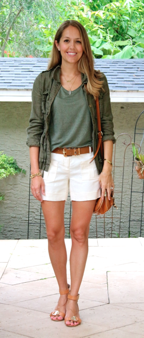 Army jacket, green, tee, ivory shorts