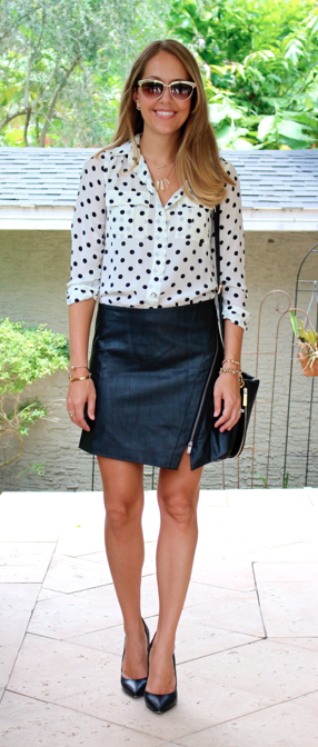 Polka dot top and leather skirt
