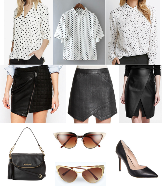 Polka dot top, leather skirt, cat eye gold sunglasses