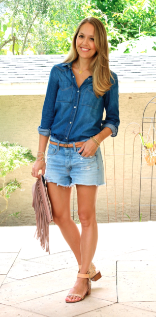 Chambray shirt and boyfriend shorts