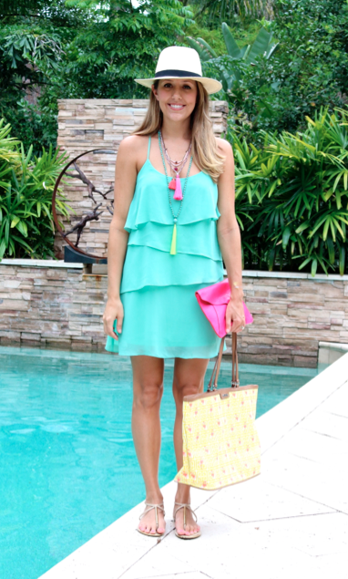 Mint tiered dress with tassel necklaces