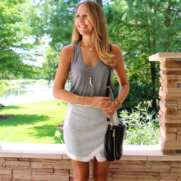 Banana racerback tank and asymmetrical skirt