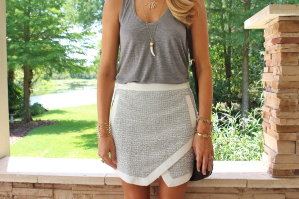 Gray tank with asymmetrical skirt