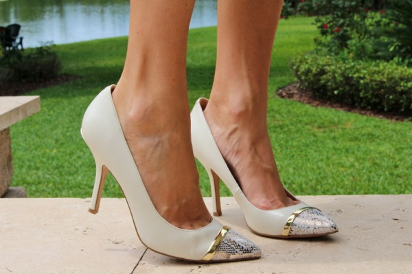 Nine West python and white cap toe pumps
