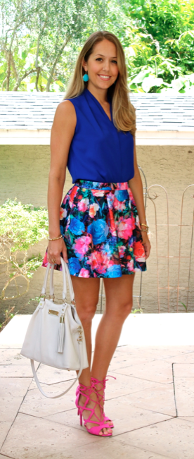 Floral skirt, cobalt top