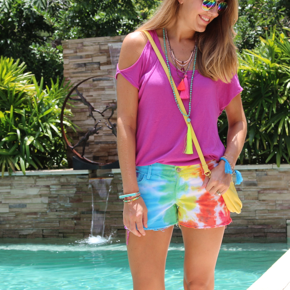 Tie dye shorts and tassel necklaces