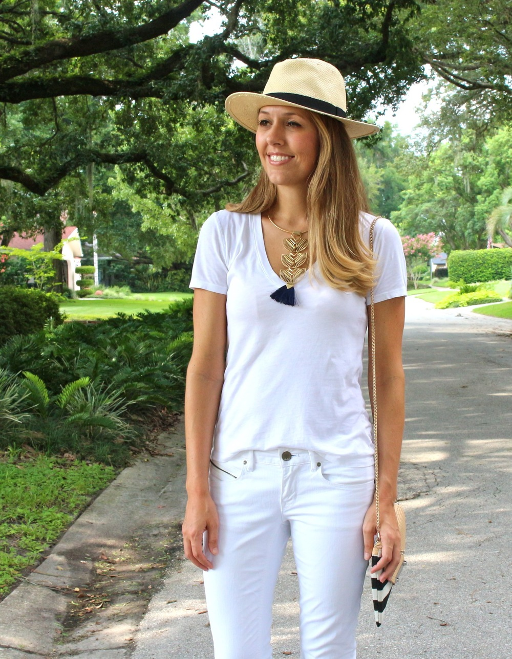 All white outfit with Panama hat