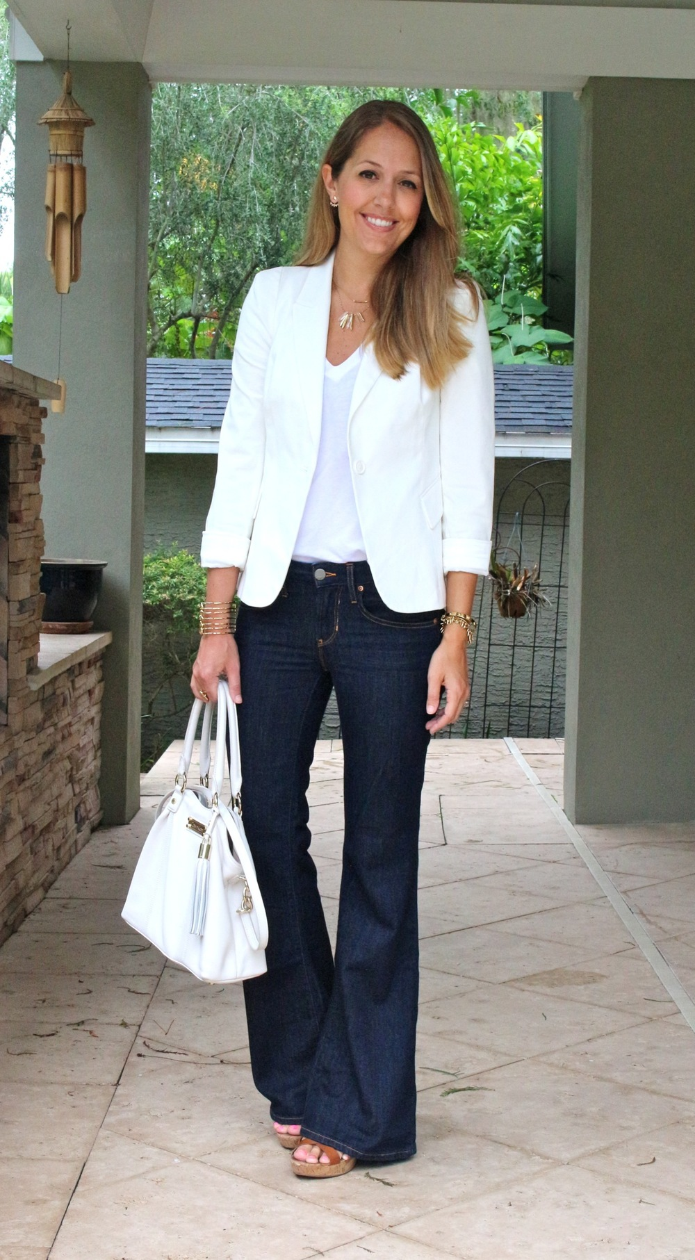 White blazer with dark flares