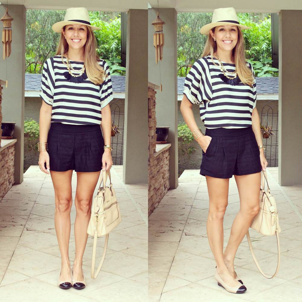 Striped top, Stella & Dot Plume necklace, Panama hat, black shorts