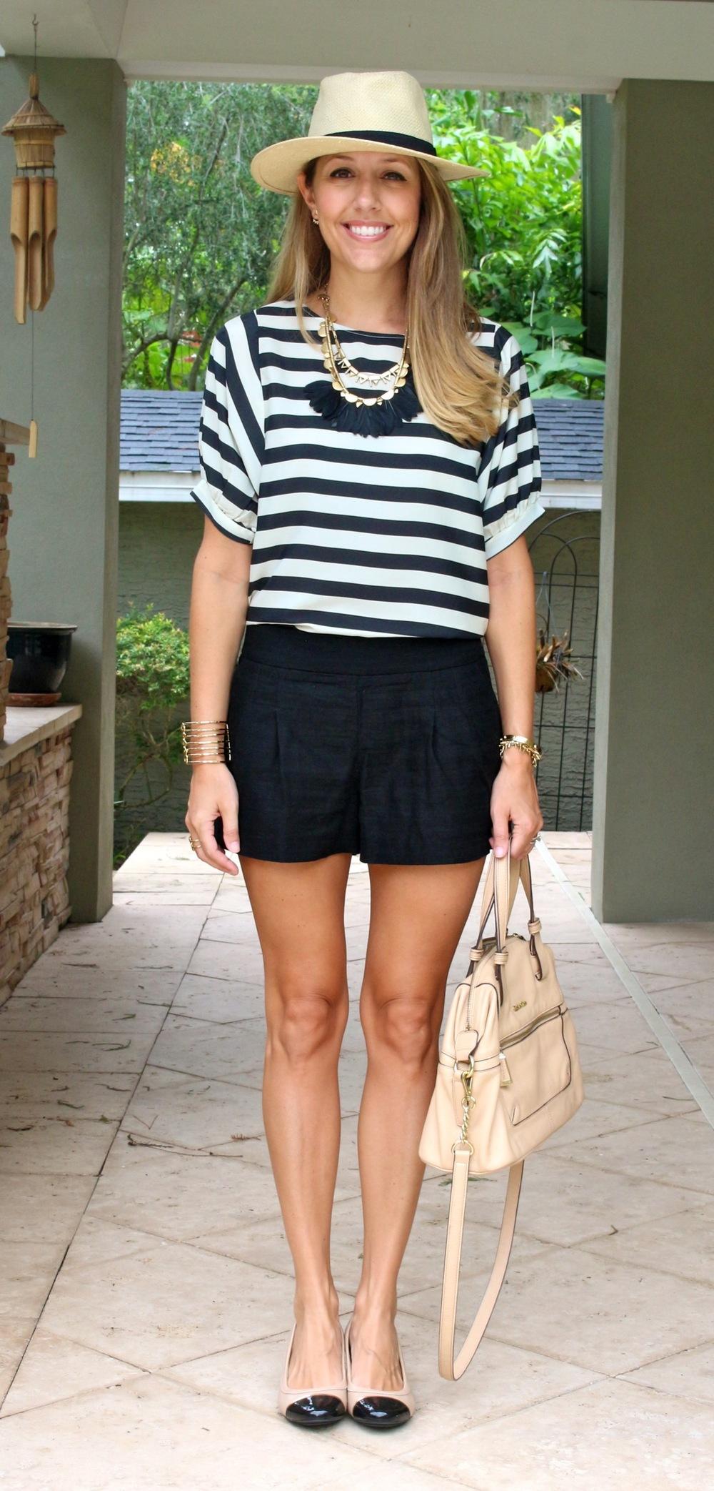 Black and white stripe top, Panama hat, black shorts